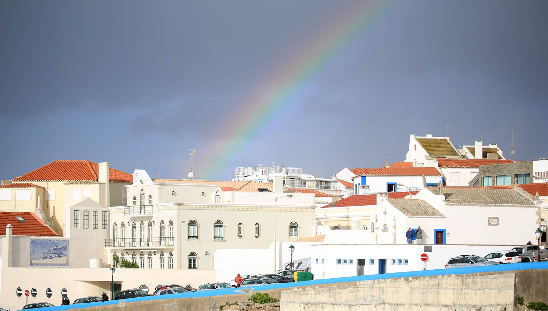 rainbow over Ericeira's center