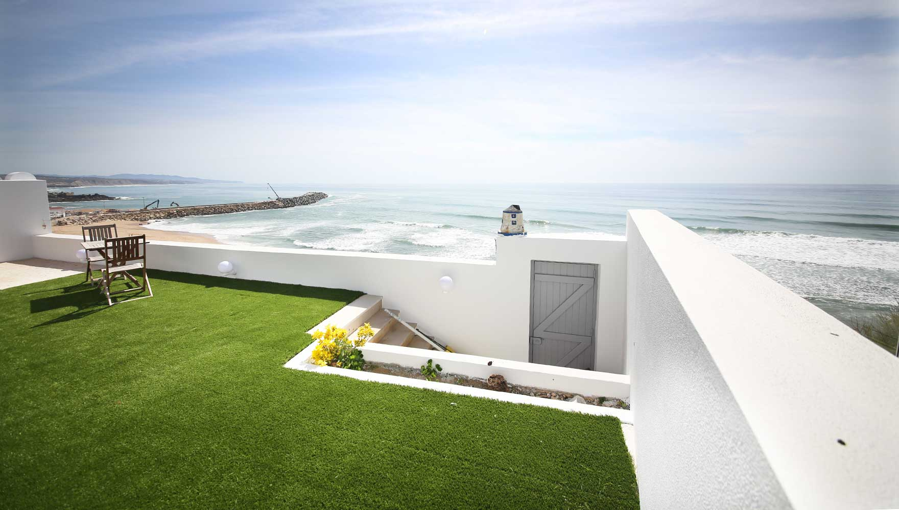 large oceanfront terrace